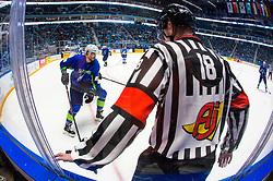 Miha Verlic of Slovenia and referee Robin Sir (CZE) during ice hockey match between Slovenia and Kazakhstan at IIHF World Championship DIV. I Group A Kazakhstan 2019, on April 29, 2019 in Barys Arena, Nur-Sultan, Kazakhstan. Photo by Matic Klansek Velej / Sportida