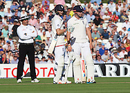 Joe Root of England and Jonny Bairstow look at the review in which he is deemed out during the 5th Investec Ashes Test Match match at the Kia Oval, London<br /> Picture by Alan Stanford/Focus Images Ltd +44 7915 056117<br /> 21/08/2015