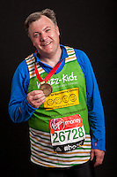 Rt. Hon. Ed Balls MP, shadow Chancellor of the Exchequer. Portraits of celebrities shortly after they have crossed the line to finish the Virgin Money London Marathon 2014 at the finish line on Sunday 13 April 2014<br /> Photo: Dillon Bryden/Virgin Money London Marathon<br /> media@london-marathon.co.uk