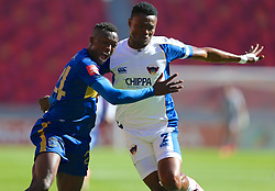 Sibusiso Masina of Cape Town City (L) and James Okwuosa of Chippa United during the 2016 Premier Soccer League match between Chippa United and Cape Town City held at the Nelson Mandela Bay Stadium in Port Elizabeth, South Africa on the 19th November  2016.<br /> <br /> Photo by:   Richard Huggard / Real Time Images