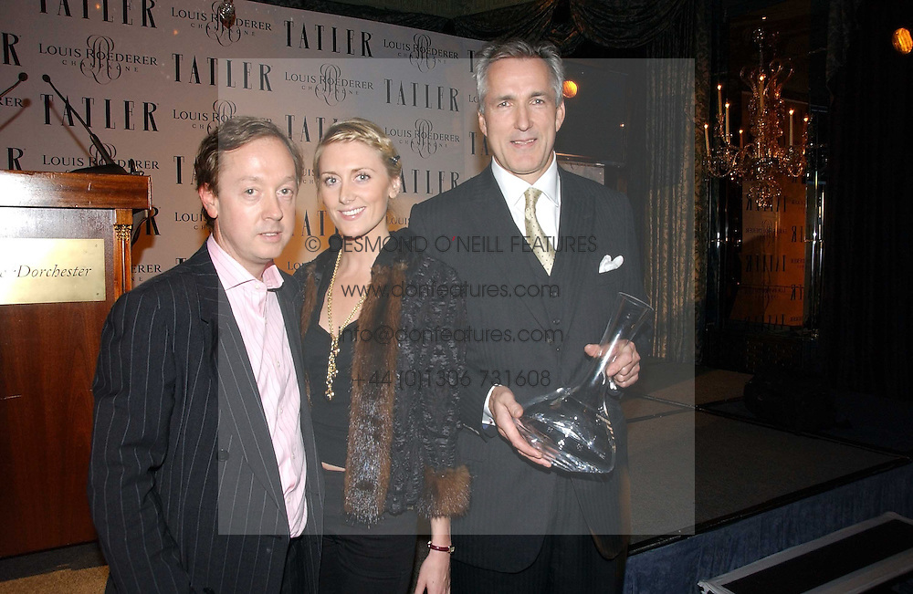 Left to right, GEORDIE GREIG, LADY EMILY COMPTON and JEREMY KING at the Tatler Restaurant Awards held at The Dorchester, Park Lane, London on 22nd January 2007.<br /><br />NON EXCLUSIVE - WORLD RIGHTS