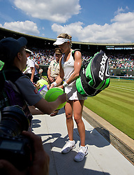 02.07.2014, All England Lawn Tennis Club, London, ENG, WTA Tour, Wimbledon, im Bild Eugenie Bouchard (CAN) walks off Court No. 1 after winning during the Ladies' Singles Quarter-Final match on day nine // during the Wimbledon Championships at the All England Lawn Tennis Club in London, Great Britain on 2014/07/02. EXPA Pictures © 2014, PhotoCredit: EXPA/ Propagandaphoto/ David Rawcliffe<br /> <br /> *****ATTENTION - OUT of ENG, GBR*****