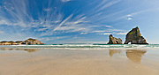 Panoramic of the Archway Islands at Wharariki, New Zealand