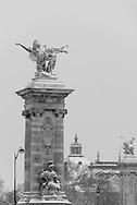 France. Paris. Alexandre III 3 bridge, Paris under the snow / Pont Alexandre III , Paris sous la neige en hiver