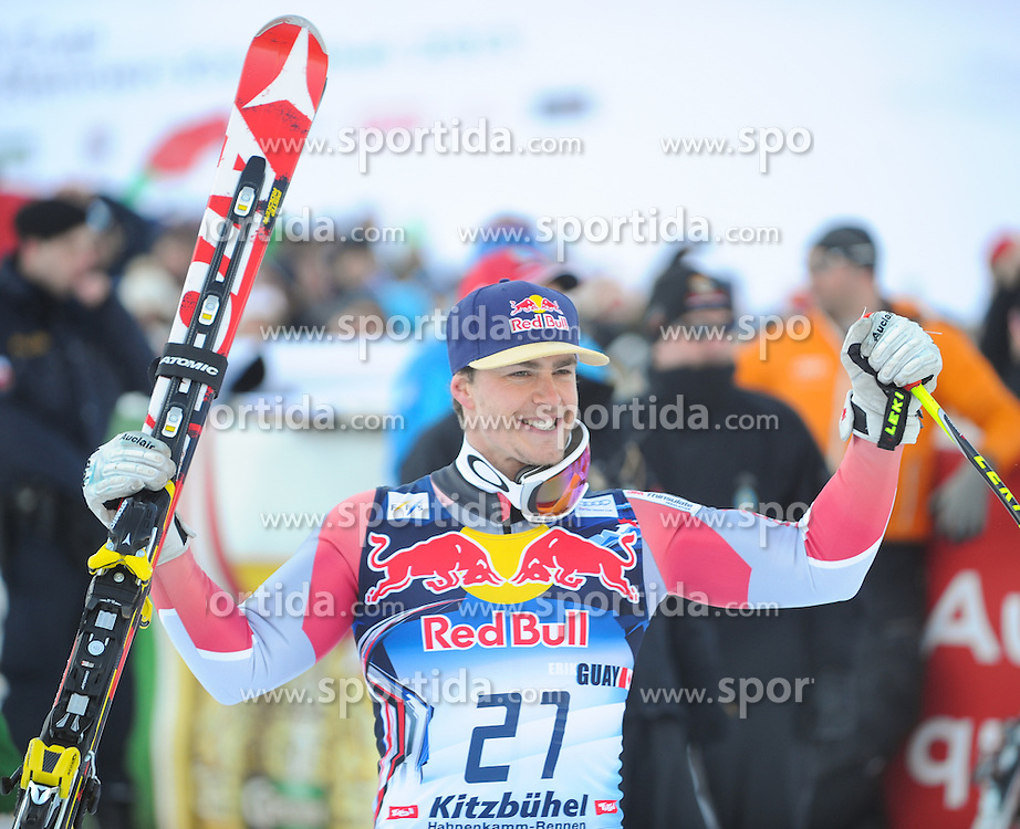 26.01.2013, Streif, Kitzbuehel, AUT, FIS Weltcup Ski Alpin, Abfahrt, Herren, Podium, im Bild Erik Guay (CAN, 2. Platz) // 2nd place  Erik Guay of Canada celebrate on podium during the mens Downhill of the FIS Ski Alpine World Cup at the Streif course, Kitzbuehel, Austria on 2013/01/26. EXPA Pictures © 2013, PhotoCredit: EXPA/ Erich Spiess
