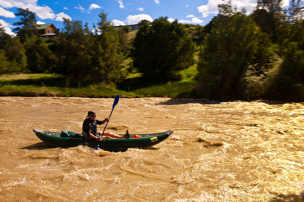 Kayaking on the Uncompaghre River, Ridgway, Colorado USA