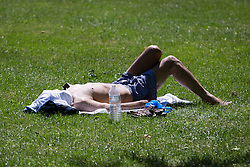 © Licensed to London News Pictures. 22/07/2014. London, UK. A man enjoying the sunshine in St Regents Park in central London this lunchtime. Photo credit : Vickie Flores/LNP