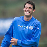 St Johnstone Training....12.09.14<br /> Brian Graham all smiles in training this morning ahead of tomorrow's game at home to Dundee.<br /> Picture by Graeme Hart.<br /> Copyright Perthshire Picture Agency<br /> Tel: 01738 623350  Mobile: 07990 594431