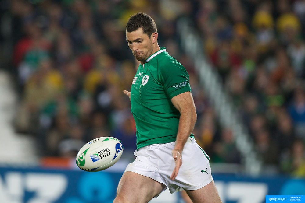 Rob Kearney, Ireland, in action during the Australia V Ireland Pool C match during the IRB Rugby World Cup tournament. Eden Park, Auckland, New Zealand, 17th September 2011. Photo Tim Clayton...
