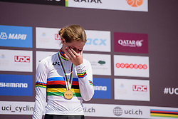 The victory sinks in for Karlijn Swinkels (NED) at the 13.7 km Junior Women's Individual Time Trial, UCI Road World Championships 2016 on 10th October 2016 in Doha, Qatar. (Photo by Sean Robinson/Velofocus).