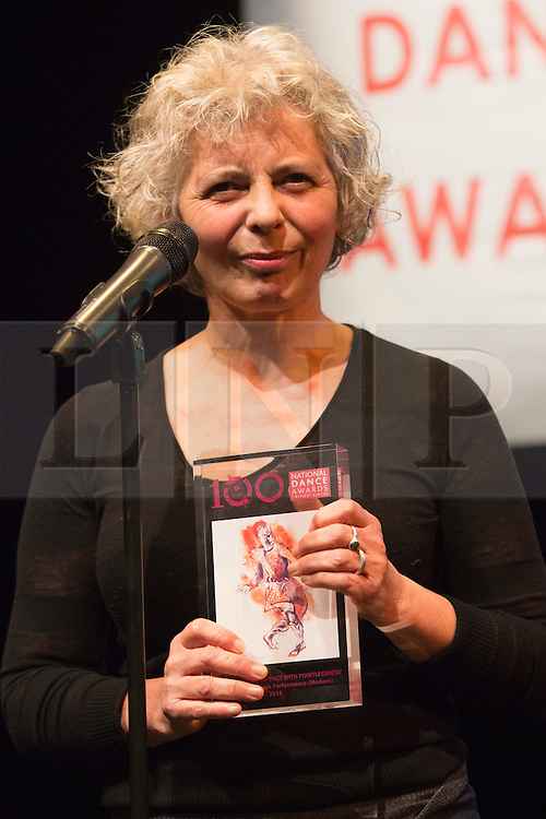 © Licensed to London News Pictures. 26/01/2015. London, England. Wendy Houstoun wins the Outstanding Female Performance (modern) award for her role in Pact for Pointlessness. The Critic's Circle National Dance Awards 2014 take place at The Place in London, UK. Photo credit: Bettina Strenske/LNP