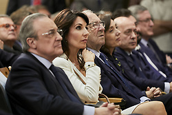 His wife Veronique and Real Madrid's president Florentino Perez listen to Zinedine Zidane's speech during his presentation as the new Real Madrid's head coach at Santiago Bernabeu stadium in Madrid, Spain, March 11, 2019. Zidane comes back to Real Madrid after 278 days and will replace Argentinian Santiago Hernan Solari and signs until 2022. Photo by A. Perez Meca/AlterPhotos/ABACAPRESS/.COM