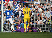 Charlie Austin (QPR striker) scoring a penalty and QPR's fourth goal during the Sky Bet Championship match between Queens Park Rangers and Rotherham United at the Loftus Road Stadium, London, England on 22 August 2015. Photo by Matthew Redman.