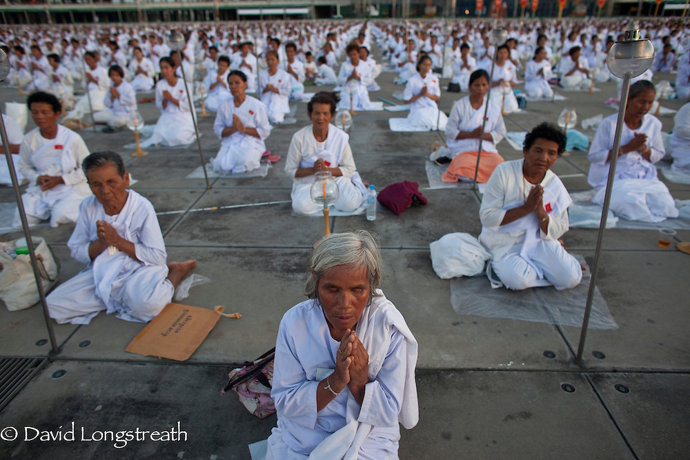 Buddhist faithful gather at Wat Dhammakaya on the outskirts of Bangkok, Thailand.