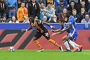 Hull City Striker Adama Diomande (20)  Chelsea defender Cesar Azpilicueta (28) and Chelsea midfielder Victor Moses (15) fight for ball during the Premier League match between Hull City and Chelsea at the KCOM Stadium, Kingston upon Hull, England on 1 October 2016. Photo by Ian Lyall.