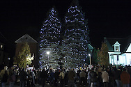 Pine Bush, NY - People gather in front of the two decorated Christmas trees that were lit during the Pine Bush Festival of Lights on Main Street on the evening of Dec. 1, 2007.
