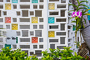 Masonry and glass block screen at The Bay Harbor Continrental apartments designed by Charles McKirahan in 1958.