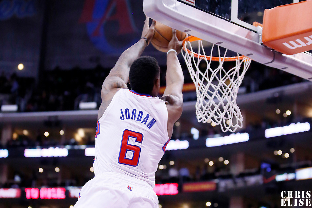 06 January 2014: Los Angeles Clippers center DeAndre Jordan (6) goes for the dunk during the Los Angeles Clippers 101-81 victory over the Orlando Magic at the Staples Center, Los Angeles, California, USA.