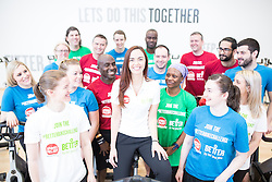 "© Licensed to London News Pictures . 01/03/2016 . Manchester , UK . Hollyoaks actress JENNIFER METCALFE (centre) launches a national fundraiser , "" The Better Bike Challenge "" from the East Manchester Leisure Centre in Beswick . The Challenge features 10,000 people cycling one-mile , each donating £1 to #TeamBetter for Sport Relief . Photo credit : Joel Goodman/LNP"