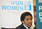 CAPE TOWN, SOUTH AFRICA - Friday 22 August 2014, Dr Phumzile Mlambo-Ngcuka, Under-Secretary-General and Executive Director of UN (United Nations) Women from New York and former South African Deputy President, during the announcement that the City of Cape Town will join the United Nations Women Safe Cities Global Initiative designed to assist local authorities in making cities safer for women and girls. Cape Town is the first city in southern Africa to join the UN Women Safe Cities Global Initiative, and looks forward to learning from and sharing its experiences with other international cities and African counterparts in Kigali and Nairobi.<br /> Photo by Roger Sedres/ImageSA