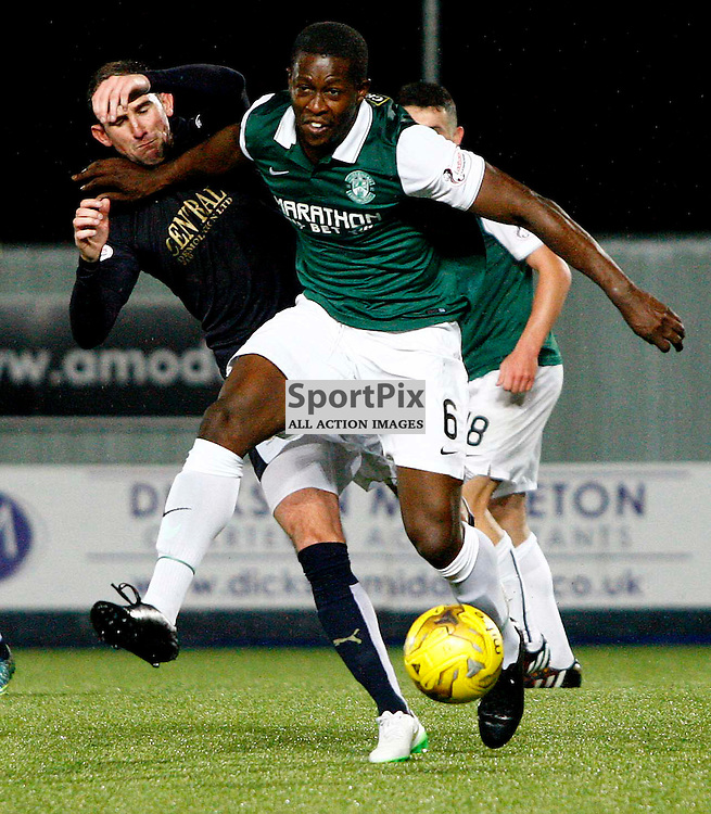 Marvin Bartley goes in hard on Mark Kerr<br /> in the Scottish Championship Match at the Falkirk Stadium(c) Andrew West | SportPix.org.uk