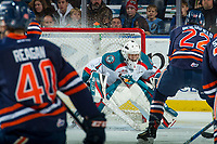 KELOWNA, CANADA - DECEMBER 27: James Porter #1 of the Kelowna Rockets defends the net against the Kamloops Blazers on December 27, 2017 at Prospera Place in Kelowna, British Columbia, Canada.  (Photo by Marissa Baecker/Shoot the Breeze)  *** Local Caption ***