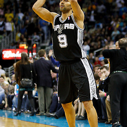 January 22, 2011; New Orleans, LA, USA; San Antonio Spurs point guard Tony Parker (9) against the New Orleans Hornets during the third quarter at the New Orleans Arena. The Hornets defeated the Spurs 96-72.  Mandatory Credit: Derick E. Hingle