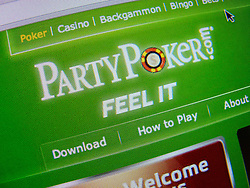 Detail of internet online poker website homepage PartyPoker screen shot
