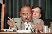 Ranking democrat Rep. John Conyers of the House Judiciary Committee during hearings on whether impeachment proceedings should begin against President Bill Clinton October 5, 1998 in Washington, DC. This is only the third time in US history that impeachment proceedings against a President have been brought to the House committee.