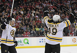 Apr 10; Newark, NJ, USA; Boston Bruins center Rich Peverley (49) celebrates his goal during the first period of their game against the New Jersey Devils at the Prudential Center.