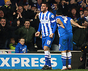 Brighton striker Tomer Hemed celebrates after scoring the winning goal during the Sky Bet Championship match between Brighton and Hove Albion and Charlton Athletic at the American Express Community Stadium, Brighton and Hove, England on 5 December 2015. Photo by Bennett Dean.