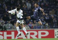 "PORTUGAL - PORTO 23 FEBRUARY 2005: JAVIER ZANETTI #4	 and LUIS FABIANO #9, compete for the ball in the First Knock-out Round First Leg of the UEFA Champions League, match FC Porto (1) vs FC Internazionale (1), held in ""Dragao"" stadium  23/02/2005  20:26:47<br />