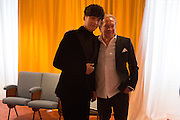Zhang Ruo Yun (C black dressed), Chinese actor, poses with Italian fashion designer Ermanno Scervino at the presentation of his Men's Collection SS 2017, Milan June 19, 2016. © Carlo Cerchioli