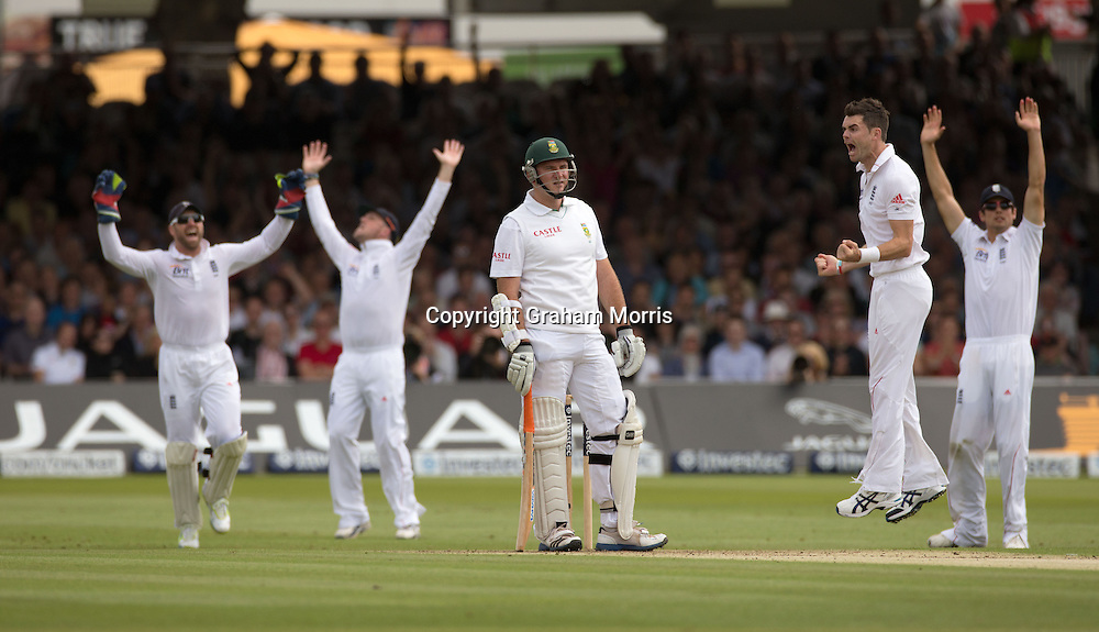 Appeals as wicket keeper Matt Prior catches Graeme Smith off the bowling of James Anderson (right) during the third and final Investec Test Match between England and South Africa at Lord's Cricket Ground, London. Photo: Graham Morris (Tel: +44(0)20 8969 4192 Email: sales@cricketpix.com) 16/08/12