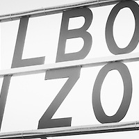 Balboa Fun Zone sign Newport Beach black and white panorama photo. Balboa Fun Zone is a historic amusement park along Newport Harbor on Balboa Peninsula, Newport Beach, California. Panoramic photo ratio is 1:3.