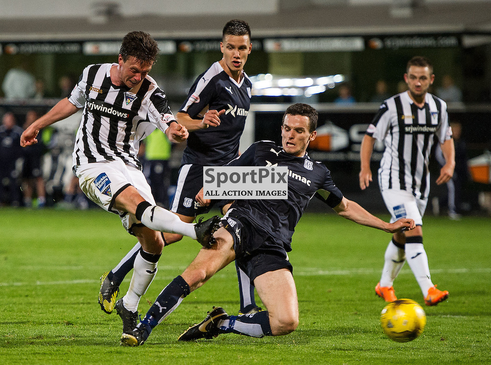 Dunfermline v Dundee, Scottish League Cup, East End Park, 25 August 2015<br />Joe Cardle scores Dunfermlines second goal during the League Cup tie between Dunfermline and Dundee.<br />ROSS PARKER | SportPix.org.uk