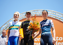 Top three on the stage: Grace Brown (AUS), Ruth Winder (USA) and Rachel Neylan (AUS) at Santos Women's Tour Down Under 2019 - Stage 3, a 104.5 km road race from Nairne to Stirling, Australia on January 12, 2019. Photo by Sean Robinson/velofocus.com