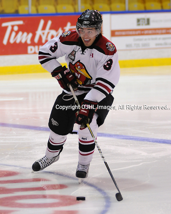 WHITBY, ON - Sep 11: Ontario Junior Hockey League game between Newmarket Hurricanes and Whitby Fury. Alex Bontje #3 of the Newmarket Hurricanes Hockey Club skates with the puck during second period game action..(Photo by Shawn Muir / OJHL Images)
