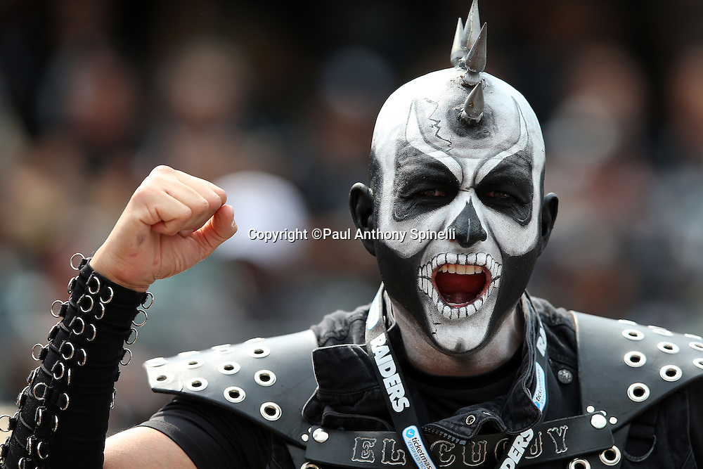 An Oakland Raiders fan with a painted face and costume cheers for the team during the 2015 NFL week 1 regular season football game against the Cincinnati Bengals on Sunday, Sept. 13, 2015 in Oakland, Calif. The Bengals won the game 33-13. (©Paul Anthony Spinelli)