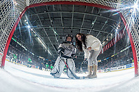 KELOWNA, CANADA - NOVEMBER 25: A mini minor hockey player checks out the net cam on November 25, 2017 at Prospera Place in Kelowna, British Columbia, Canada.  (Photo by Marissa Baecker/Shoot the Breeze)  *** Local Caption ***