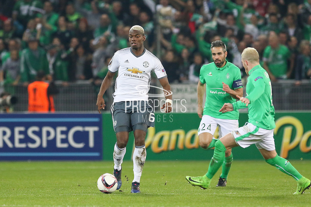 Paul Pogba Midfielder of Manchester United during the Europa League match between Saint-Etienne and Manchester United at Stade Geoffroy Guichard, Saint-Etienne, France on 22 February 2017. Photo by Phil Duncan.