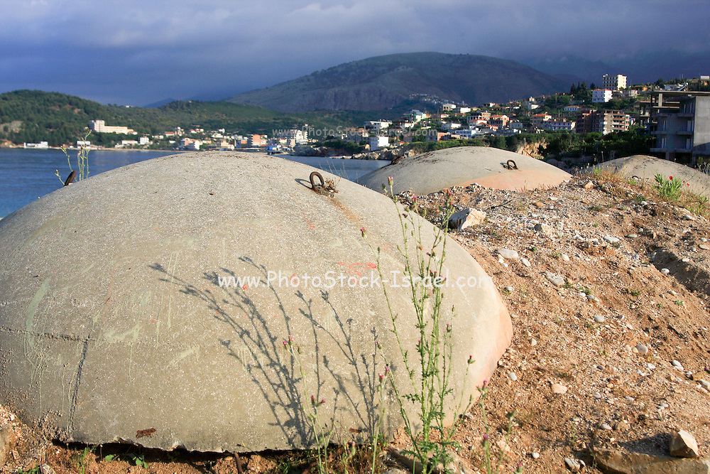 Albania, Himara, concrete bunker protecting against invasions via the sea