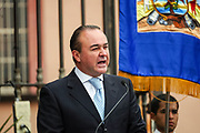 San Miguel de Allende Mayor Luis Alberto Villarreal addresses citizens during the 251st birthday celebration of Mexican Independence hero Ignacio Allende January 21, 2020 in San Miguel de Allende, Guanajuato, Mexico. Allende, from a wealthy family in San Miguel played a major role in the independency war against Spain in 1810 and later honored by his home city by adding his name.