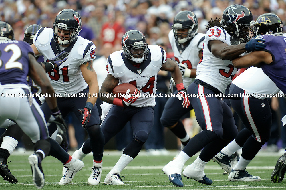 Sept. 22, 2013 - Baltimore, Maryland, U.S - Houston Texans running back BEN TATE (44) cuts through the hole made by Houston Texans fullback GREG JONES (33) and Houston Texans tight end OWEN DANIELS (81) during the first quarter against the Baltimore Ravens at M&T Stadium in Baltimore, Maryland. Baltimore defeated Houston 30-9