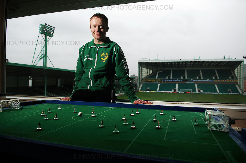 Easter Road is to play host to one of the year's biggest football tournaments with teams from all over the world descending on the Hibs ground this weekend for the Subbuteo Table Soccer event of the year...Three of the world's top five teams will be taking part in the event. The Scottish Sports Table Football Association (SSTFA) are hosting the event organised by Mike Burns, president of the SSTFA...Pic shows SSFTA president Mike Burns next to his Subbuteo pitch with Hibernian FC stadium in the background...Picture Richard Scott/Maverick
