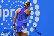 Petra Kvitova of the Czech Republic loses her headband on her way to winning her finals match (4-6) (6-3) (6-2) at the Aegon Classic Birmingham at Edgbaston Priory Club, Edgbaston, United Kingdom on 25 June 2017. Photo by Martin Cole.