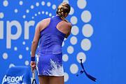 Petra Kvitova of the Czech Republic loses her headband on her way to winning her finals match (4-6) (6-3) (6-2) at the Aegon Classic Birmingham at Edgbaston Priory Club, Edgbaston, United Kingdom on 25 June 2017. Photo by Martin Cole.