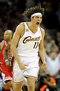 Apr 27, 2010; Cleveland, OH, USA; Cleveland Cavaliers forward Anderson Varejao (17) reacts after a Cleveland basket during the third period in game five against the Chicago Bulls in the first round of the 2010 NBA playoffs at Quicken Loans Arena.  Mandatory Credit: Jason Miller-US PRESSWIRE