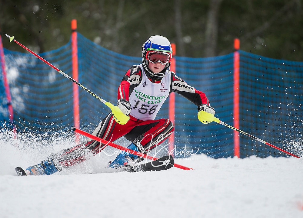 Kevin McDonough (U14 Division) charges the slalom gates during the annual Gus Pitou Memorial Slalom with Gunstock Ski Club on Sunday.  (Karen Bobotas/for the Laconia Daily Sun)