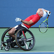 2017 U.S. Open Tennis Tournament - DAY THIRTEEN. Stephane Houdet of France in action while winning against Gustavo Fernandez of Argentina in the Wheelchair Men's Singles Semifinal at the US Open Tennis Tournament at the USTA Billie Jean King National Tennis Center on September 09, 2017 in Flushing, Queens, New York City.  (Photo by Tim Clayton/Corbis via Getty Images)